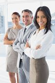 Businesswoman smiling while at work with co-workers