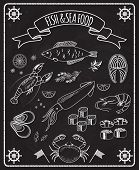 Fish and seafood blackboard vector elements