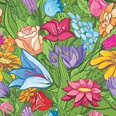 Vintage bright floral pattern
