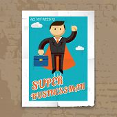 Super Businessman with Cape and Briefcase Graphic