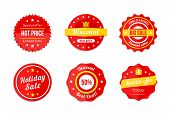 Various Red Discount Sale Tag Icons