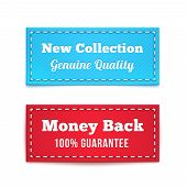 New Collection and Money Back Tag Badges