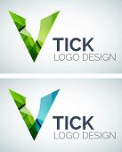 Abstract tick logo design made of color pieces - various geometric shapes