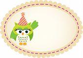 Cute Owl Birthday Label