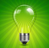 Background with light bulb on green burst, vector illustration.