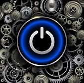 Power button on gears background, vector design.