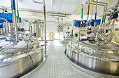 stock photo of production  - pharmaceutical factory equipment mixing tank on production line in pharmacy industry manufacture factory - JPG