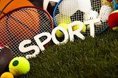 Sports equipment on grass