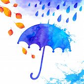 Blue watercolor painted umbrella under the rain