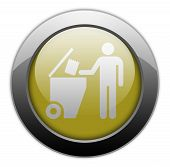 stock photo of dumpster  - Icon Button Pictogram with Trash Dumpster symbol - JPG