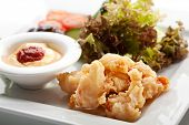 Deep Fried Shrimps with Fresh Salad Mix and Mushrooms