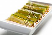 Cucumber Slice with Sesame and Sauce