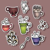 Set of Stickers with Ornamental Coffee Cups