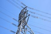 Steel Pylon Supporting Heavy Electric Power Cables