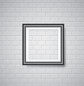 vector black empty frame on white brickwall
