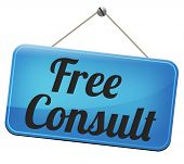 free consult road sign or help and information desk icon optimal customer support Gratis consultation service and advice.