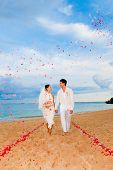stock photo of wedding couple  - An attractive bride and groom getting married by the beach - JPG