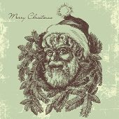 Vintage Santa Claus sketch portrait, Christmas card in old fashioned style