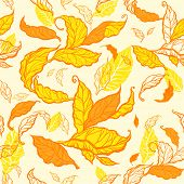 Autumn seamless pattern with drawing leaves