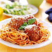 plate of italian spaghetti and meatballs covered in sauce