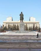 Monument to Lenin on Revolution Square. Krasnoyarsk