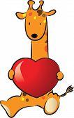 giraffes holding a heart shape