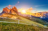 View on the  Odle - Geisler group and Pizes de Cir ridge. National Park valley Val Gardena. Dolomite