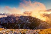 Great view of the Cadini di Misurina range in National Park Tre Cime di Lavaredo. Dolomites, South T
