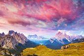 Great view of the Cadini di Misurina range, Cristallo and Sorapis group in National Park Tre Cime di