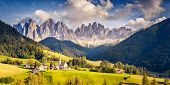 Countryside view of the St. Magdalena or Santa Maddalena in the National Park Puez Odle or Geisler s