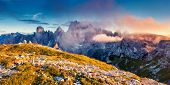 stock photo of south tyrol  - Great view of the Cadini di Misurina range in National Park Tre Cime di Lavaredo - JPG