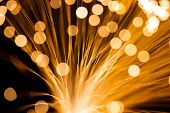 Golden fibre optic strands