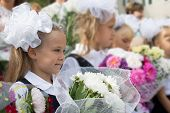 First grader girls in the first day of training at the school. Russia.