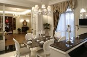 interior of a dinning room in white color