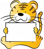 image of cute tiger  - vector cartoon cute tiger holding blank paper - JPG