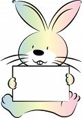 rabbit holding a blank paper