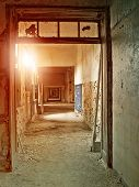 hallway in an abandoned industrial complex