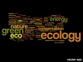 Vector eps concept or conceptual abstract green ecology and conservation word cloud text on black ba