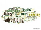 Vector eps concept or conceptual abstract advertising word cloud or word cloud isolated on white bac