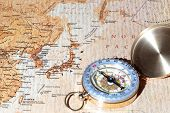 Travel Destination Japan, Ancient Map With Vintage Compass