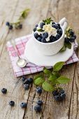 Blueberries -  fresh blueberries with whipped cream