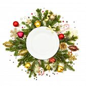 Christmas plate with fir, baubles, ribbons, stars and glitter -  isolated on white background