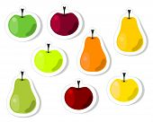 Pear and apple stickers