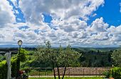 Hills, vineyards and cypress trees, Tuscany landscape near San Gimignano