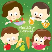 picture of healthy eating girl  - Illustration of a family eating fruits and vegetables - JPG