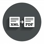Export XML to PDF icon. File document symbol.
