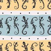 Lizards. Seamless pattern.