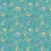 Turquoise floral pattern