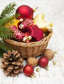 Christmas Decoration In Basket