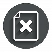 File document stop icon. Delete doc button.